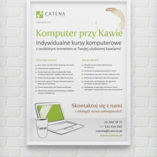 Plakat akcji Komputer przy Kawie dla CATENA